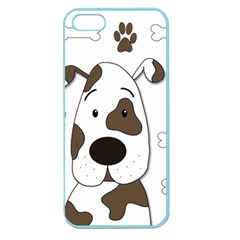 Cute Dog Apple Seamless Iphone 5 Case (color) by Valentinaart