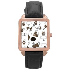 Cute Dog Rose Gold Leather Watch  by Valentinaart