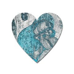 Mother Mary And Infant Jesus Christ  Blue Portrait Old Vintage Drawing Heart Magnet by yoursparklingshop