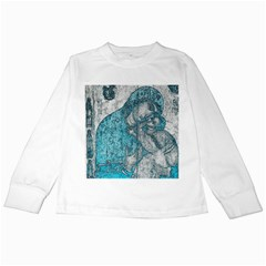 Mother Mary And Infant Jesus Christ  Blue Portrait Old Vintage Drawing Kids Long Sleeve T Shirts by yoursparklingshop