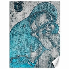 Mother Mary And Infant Jesus Christ  Blue Portrait Old Vintage Drawing Canvas 36  X 48   by yoursparklingshop