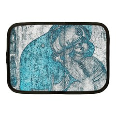 Mother Mary And Infant Jesus Christ  Blue Portrait Old Vintage Drawing Netbook Case (medium)  by yoursparklingshop