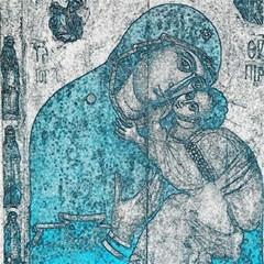 Mother Mary And Infant Jesus Christ  Blue Portrait Old Vintage Drawing Magic Photo Cubes by yoursparklingshop