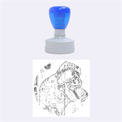 Mother Mary And Infant Jesus Christ  Blue Portrait Old Vintage Drawing Rubber Round Stamps (medium) by yoursparklingshop