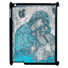 Mother Mary And Infant Jesus Christ  Blue Portrait Old Vintage Drawing Apple Ipad 2 Case (black) by yoursparklingshop