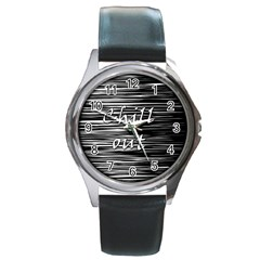 Black An White  chill Out  Round Metal Watch by Valentinaart