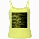 Black an white  Chill out  Yellow Spaghetti Tank Front