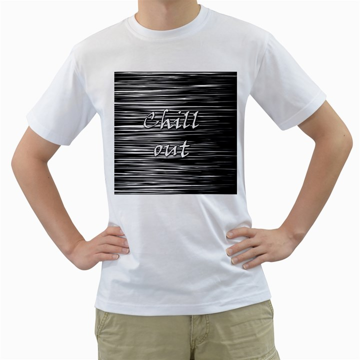 Black an white  Chill out  Men s T-Shirt (White) (Two Sided)