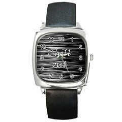 Black An White  chill Out  Square Metal Watch