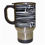 Black an white  Chill out  Travel Mugs (White) Left