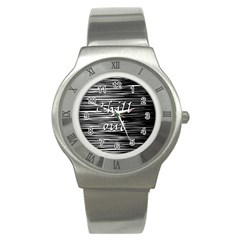 Black An White  chill Out  Stainless Steel Watch by Valentinaart