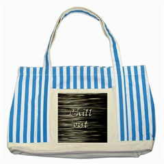 Black An White  chill Out  Striped Blue Tote Bag by Valentinaart
