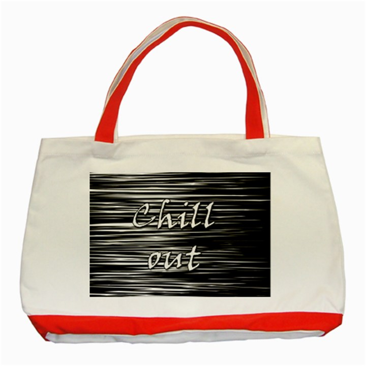 Black an white  Chill out  Classic Tote Bag (Red)