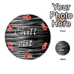 Black an white  Chill out  Playing Cards 54 (Round)  Front - Heart6