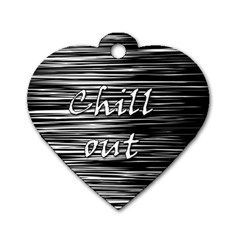 Black An White  chill Out  Dog Tag Heart (one Side) by Valentinaart