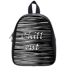 Black An White  chill Out  School Bags (small)  by Valentinaart