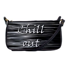 Black An White  chill Out  Shoulder Clutch Bags by Valentinaart