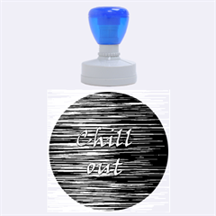Black An White  chill Out  Rubber Round Stamps (large) by Valentinaart