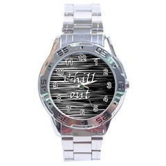 Black An White  chill Out  Stainless Steel Analogue Watch by Valentinaart