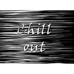 Black an white  Chill out  Circle 3D Greeting Card (7x5) Back