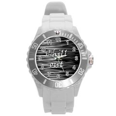 Black An White  chill Out  Round Plastic Sport Watch (l)