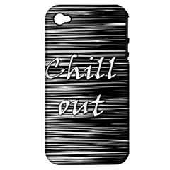 Black An White  chill Out  Apple Iphone 4/4s Hardshell Case (pc+silicone) by Valentinaart
