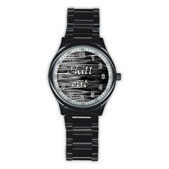 Black An White  chill Out  Stainless Steel Round Watch by Valentinaart