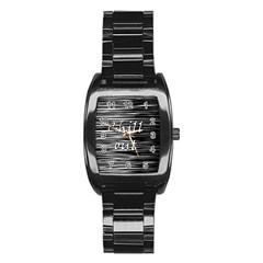 Black An White  chill Out  Stainless Steel Barrel Watch by Valentinaart
