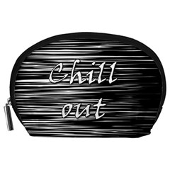Black An White  chill Out  Accessory Pouches (large)