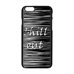 Black An White  chill Out  Apple Iphone 6/6s Black Enamel Case by Valentinaart