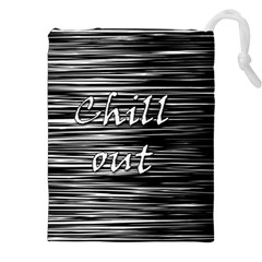 Black An White  chill Out  Drawstring Pouches (xxl) by Valentinaart