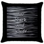 I love black and white Throw Pillow Case (Black)