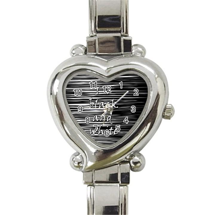 I love black and white Heart Italian Charm Watch