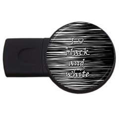 I Love Black And White Usb Flash Drive Round (4 Gb)