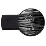I love black and white USB Flash Drive Round (4 GB)  Front