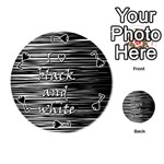 I love black and white Playing Cards 54 (Round)  Front - Spade7
