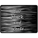 I love black and white Fleece Blanket (Large)  80 x60 Blanket Front
