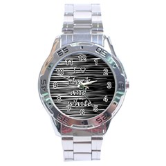 I Love Black And White Stainless Steel Analogue Watch