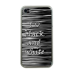 I Love Black And White Apple Iphone 4 Case (clear) by Valentinaart