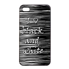 I Love Black And White Apple Iphone 4/4s Seamless Case (black) by Valentinaart