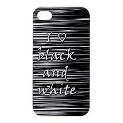 I Love Black And White Apple Iphone 4/4s Hardshell Case