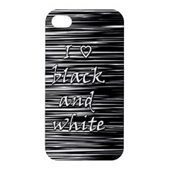 I Love Black And White Apple Iphone 4/4s Premium Hardshell Case by Valentinaart