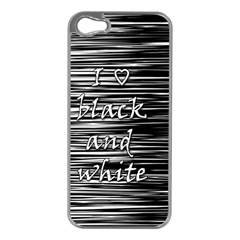 I Love Black And White Apple Iphone 5 Case (silver) by Valentinaart
