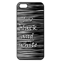 I Love Black And White Apple Iphone 5 Seamless Case (black) by Valentinaart