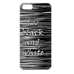 I Love Black And White Apple Iphone 5 Seamless Case (white) by Valentinaart
