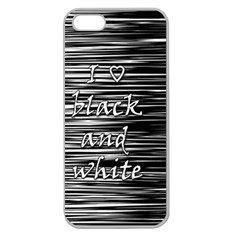 I Love Black And White Apple Seamless Iphone 5 Case (clear) by Valentinaart