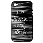 I love black and white Apple iPhone 4/4S Hardshell Case (PC+Silicone)
