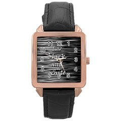 I Love Black And White Rose Gold Leather Watch