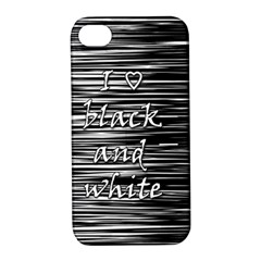 I Love Black And White Apple Iphone 4/4s Hardshell Case With Stand by Valentinaart