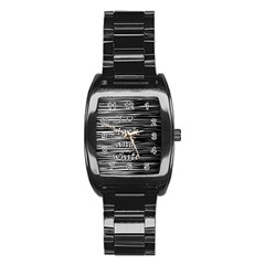 I love black and white Stainless Steel Barrel Watch